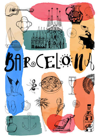 City poster Lisbon. Vector set of landmarks 免版税图像 - 155750307