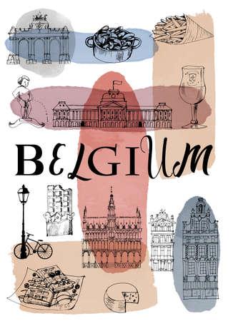City poster Lisbon. Vector set of landmarks 矢量图像