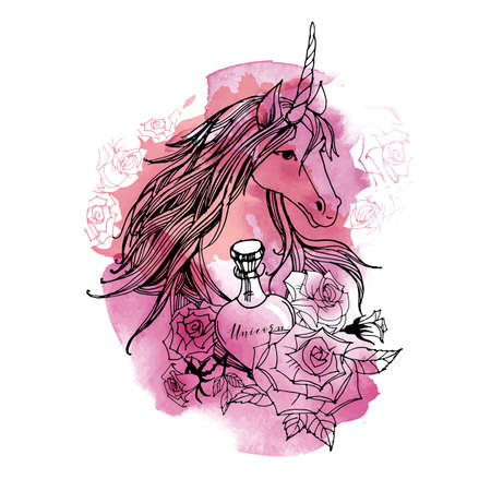 Unicorn set. Sketch and watercolor vector background.