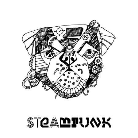 steampunk gorilla head. Hand drawin illustration