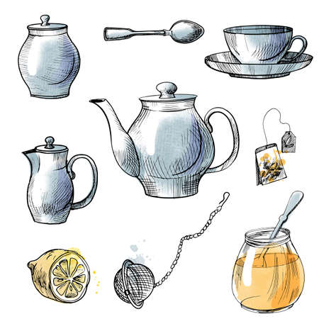 Banquet tableware set. Vector sketch illustration. Knife and spoon, plate and fork illustration
