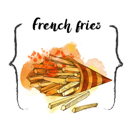 French fries. fast food vector sketch 矢量图像