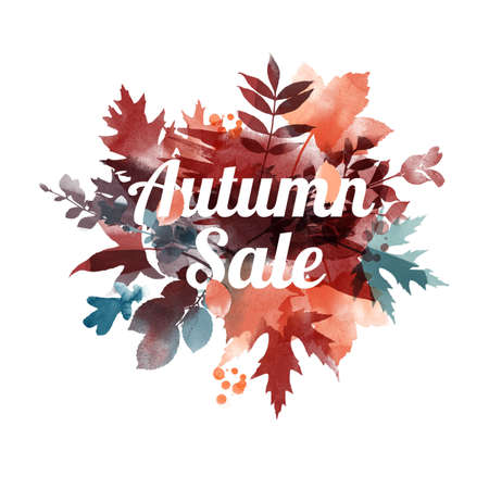 Autumn leaves watercolor vector background.