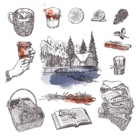 Winter vector holiday set. Sketch and watercolor