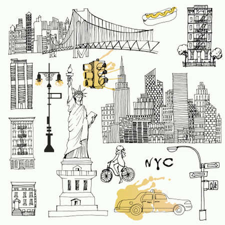 New York set. Sketch and watercolor