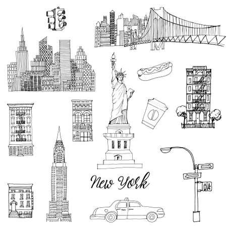 New York setr. Vector sketch Vektoros illusztráció