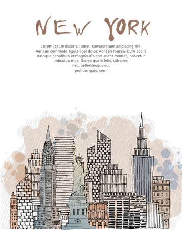 New York poster. Sketch and watercolor