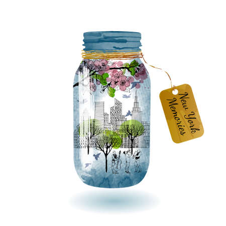 New York in jar glass poster. Sketch and watercolor 矢量图像