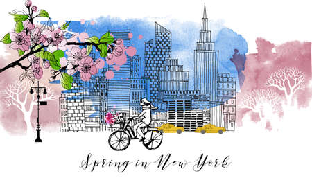 New York spring poster. Sketch and watercolor 矢量图像