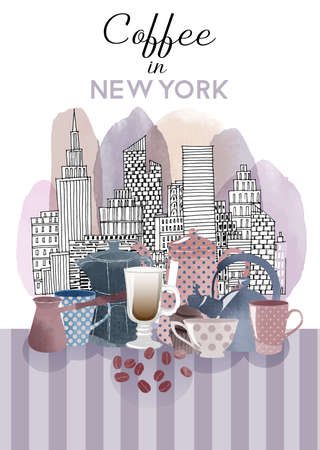 Coffee in New York city. watercolor background. Poster design