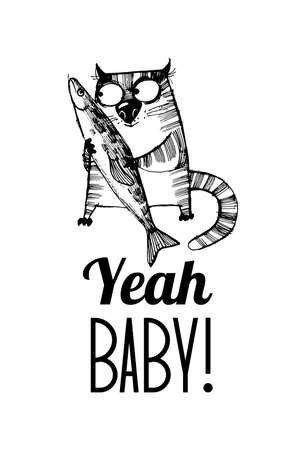 hand drawn vector sketch of funny cats 矢量图像