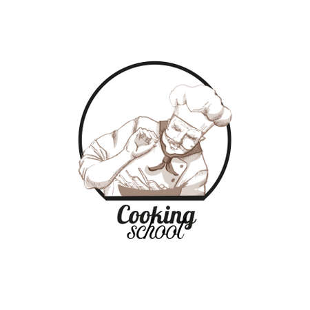Chef cooking. Hand drawn vector logo