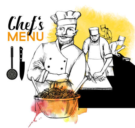 Chef cooking. Hand drawn vector background and watercolor textur. 矢量图像