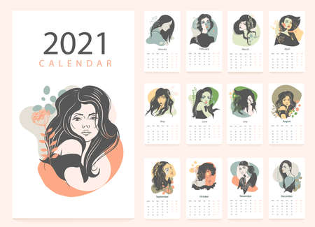 Calendar 2021 with pretty womens faces