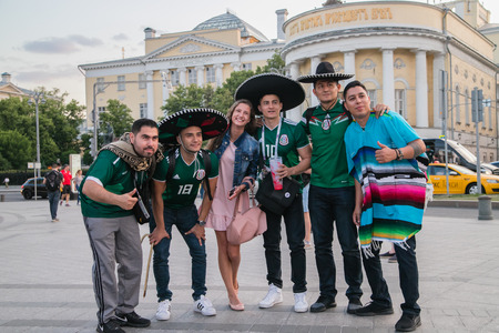 17062018 multinational football fans on Fifa 2018 in Russia Moscow in the center of the city Red Square, Nikolskaya street, okhotnyi ryad, teatralnaya metro station, near Kremlin Moscow, GUM Moscow, Four Seasons hotel moscow, National hotel moscow.