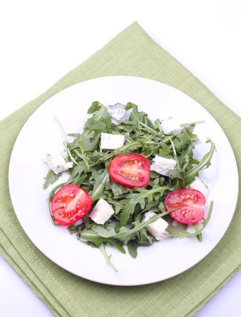 ruccola: Salad with ruccola on  a plate Stock Photo
