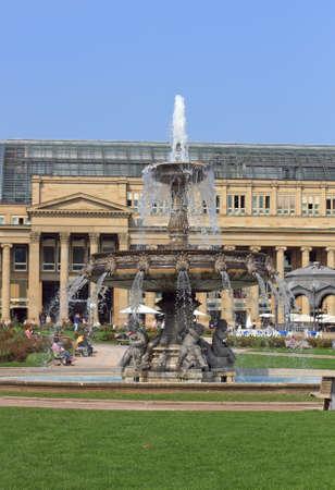 squire: Fountain at the squire Schlossplatz, Stuttgart, Germany