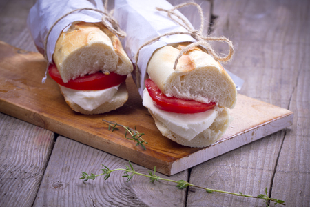 Sandwiches with mozzarella and tomatoes photo