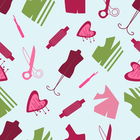Seamless sewing pattern sewing accessories on a blue background Illustration