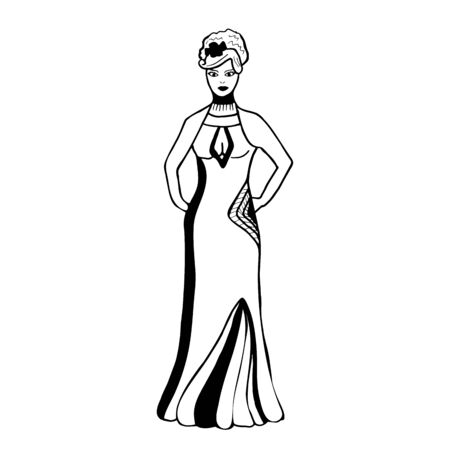 ashion sketch of a woman in an evening dress