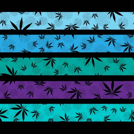 black cannabis leaves on a striped colorful background seamless pattern