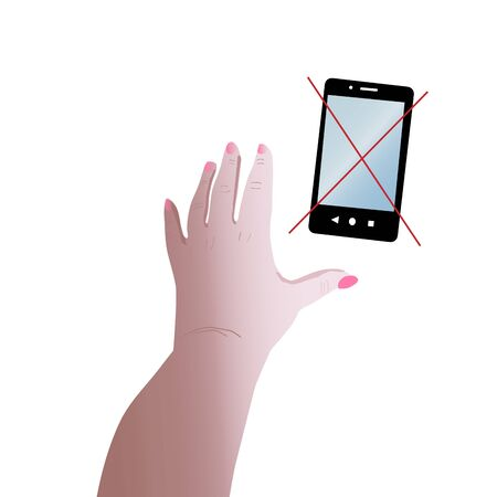 Female hand reaches for the phone. Flat style. Concept of social dependence. Vector illustration isolated on a white background.