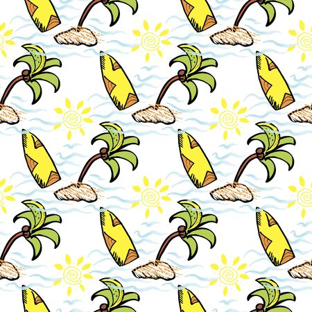 sea sea, surfing vacation, swimming on a palm island, seamless pattern of water adventure doodle style
