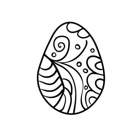 Easter egg vector for coloring book doodle stars pattern illustration isolated on white background simple cute shape Ilustração