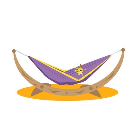 purple hammock on a wooden cradle isolated on white background in flat style