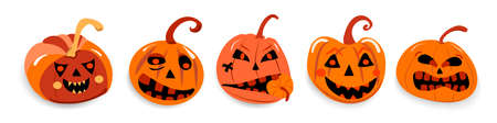 set of evil pumpkins with different emotions for the holiday of Halloween