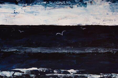 Very dramatic dark pianting of sea, sky, seagulls in darkness Stock Photo