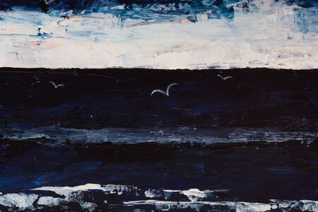 Very dramatic dark pianting of sea, sky, seagulls in the darkness