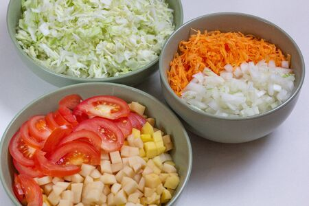 Raw chopped vegetables in bowls for soup 写真素材