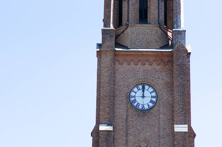 Twelve o clock on Fredrikstad Cathedral Norway