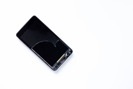 Broken touch mobile phone on the white background