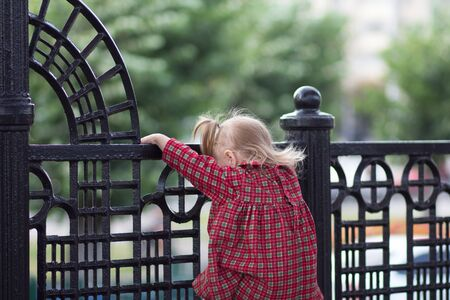 Back of caucasian child of two years climbing up on fence