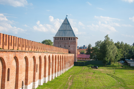 A part of a Smolensk Fortress with Abraham tower on sunny day Stock Photo