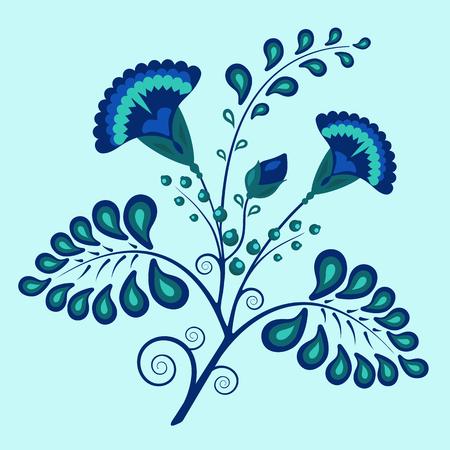 blue Russian floral pattern vector illustration cornflowers on sky azure backdrop Illustration