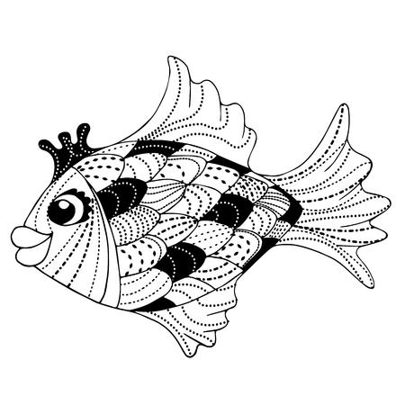 fairy goldfish zen art doodle vector illustration Banco de Imagens - 121635199
