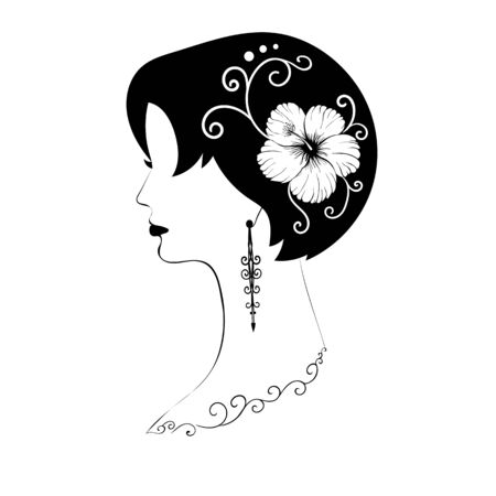 Exquisite short-haired female profile with black hair, hibiscus flower in her hair, beautiful patterns and long earrings - vector illustration icon. Sign or logo for a beauty salon, jewelry store or tattoo parlor.