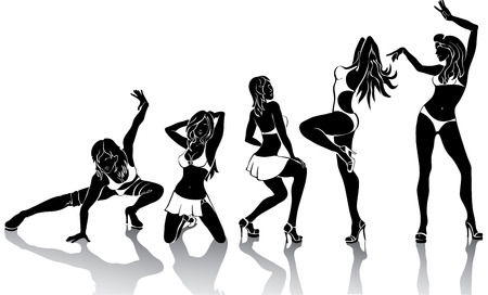 squat: Several dancing female Set of silhouettes on a white background