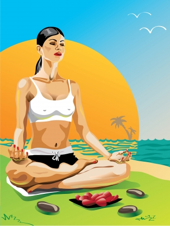 yoga sunset: One female practicing yoga in the lotus position at sunset sitting on a beach Vector Illustration