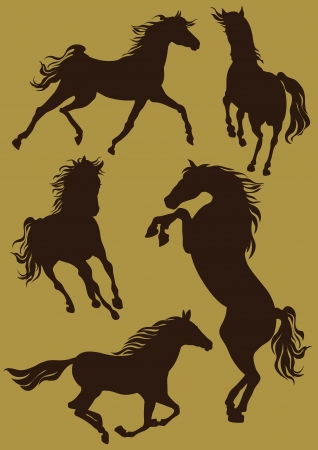 ferm: Silhouettes of horses in moving Vector Illustration