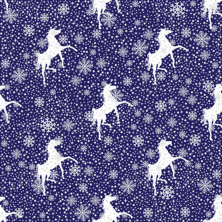 leggy: Winter white snowy  and silhouette of a horse  seamless pattern  or  background