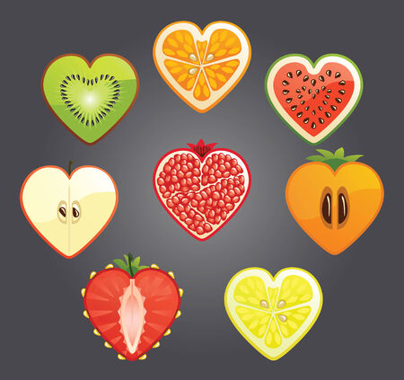 Cut of differend  fruits and berries in the shape of a heart  Gradient gray background  Fantasti, unusual and abstract form  Vector
