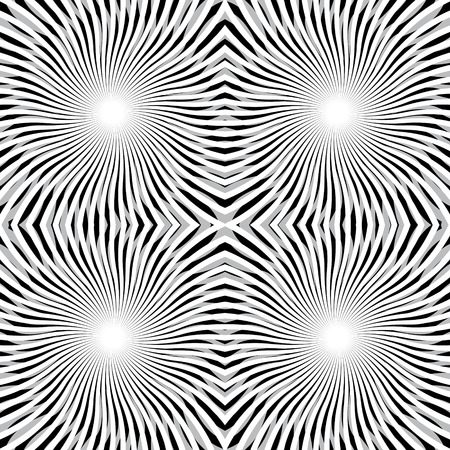 visual effect: Vector Twirl black and white seamless ornament or background with curl  illusion and visual effect