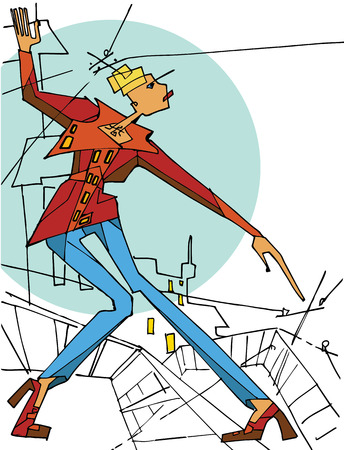 drow: Vector illustration Woman in the upper clothing standing on the roof on a background of the city Drow is in the style of cubism Illustration