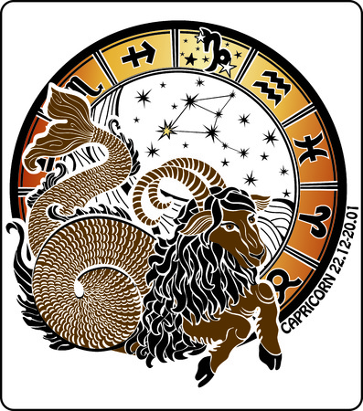 Big Capricorn and symbols of all zodiac  Vector
