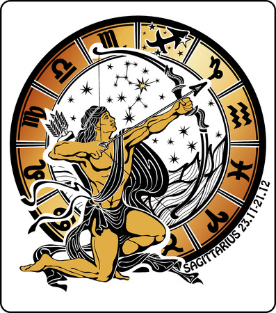 Tanned long haired male Sagittarius sits and tries to target archery  dressed in drapery, it quiver of arrows  Behind him, range of horoscope signs of the zodiac ,the stars and the constellation of Sagittarius