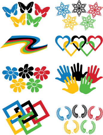 A set of variations on the theme of  rings Palm,butterflies,tape,snowflakes,squares,wreaths in colors of the  rings  Illustration